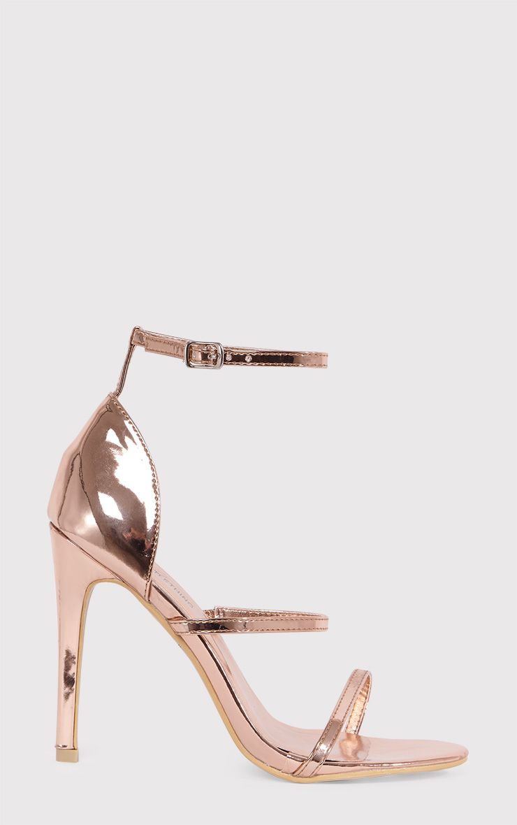 Amelia Rose Gold Strappy Heeled Sandal