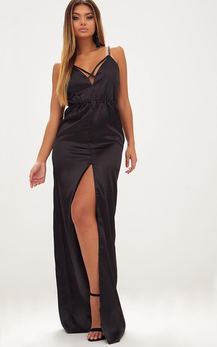 Black Strap Detail Split Front Satin Maxi Dress