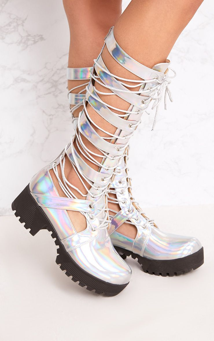 Josiana Silver Holographic Lace Up Biker Boots