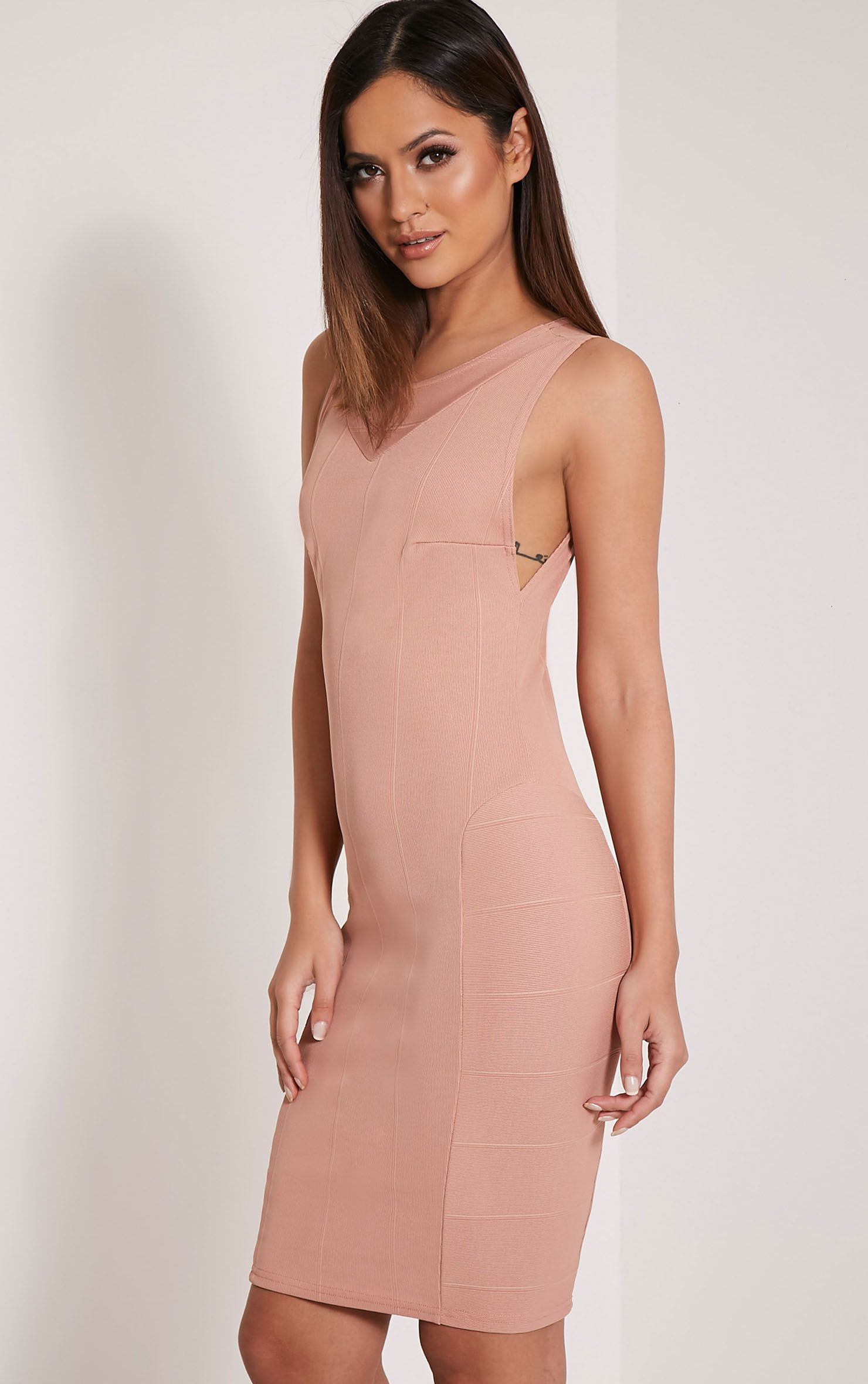 Keelia Nude Panel Detail Bandage Midi Dress 1