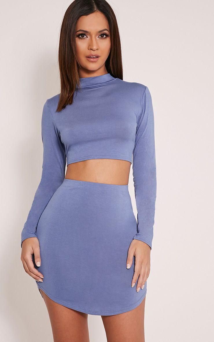 Ariana Petrol Blue Curved Hem Crop Top 1