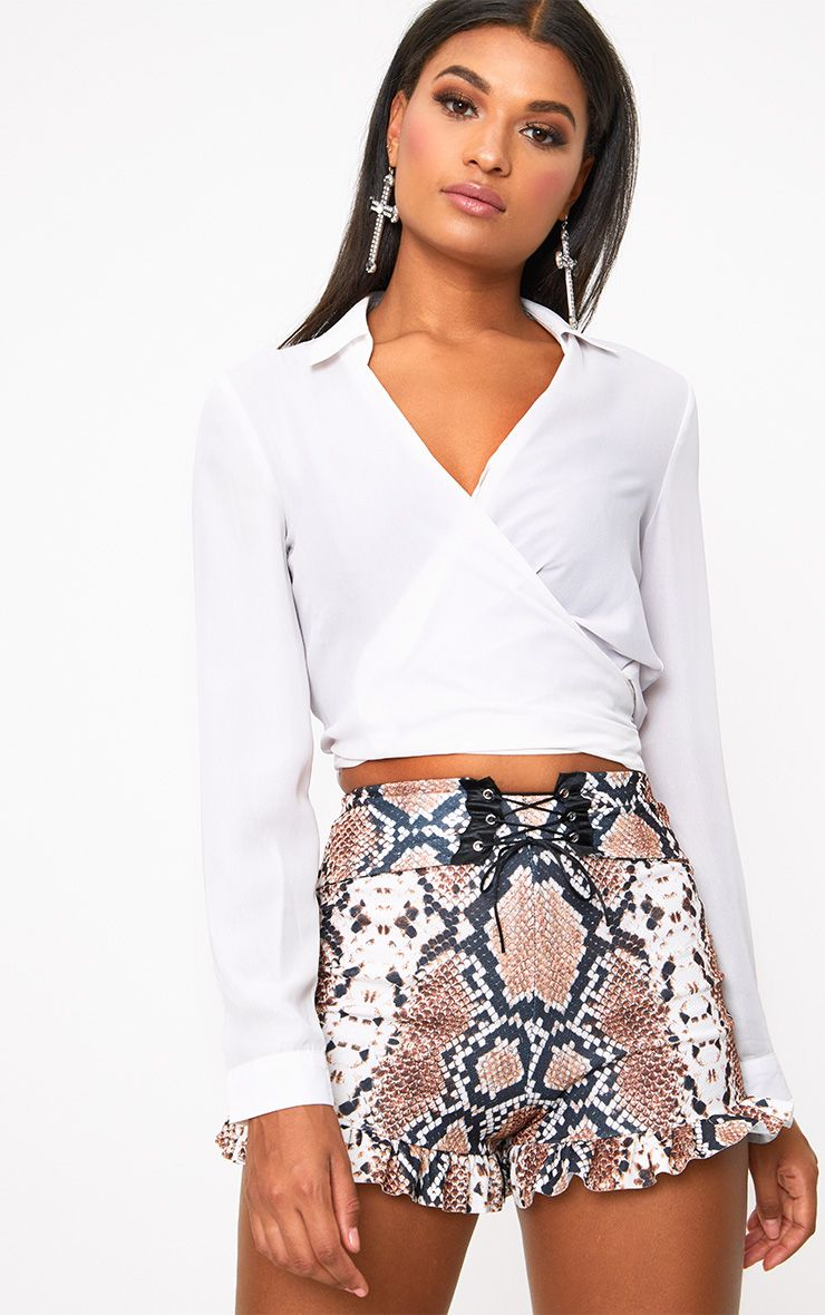 Taupe Snake Print Corset Waist Shorts