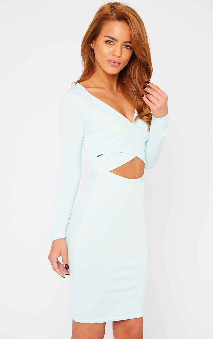 Hayley Mint Crepe Cross Over Dress 1