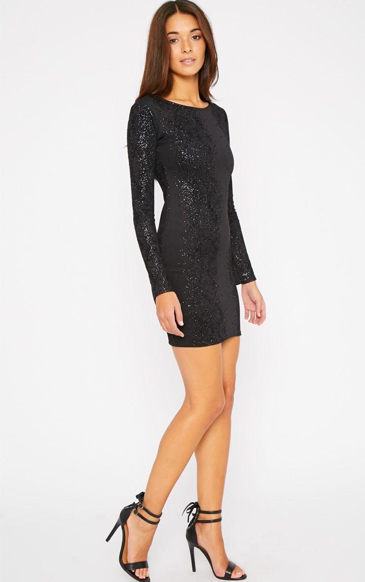 Caroline Black Glitter Snake Print Dress 1