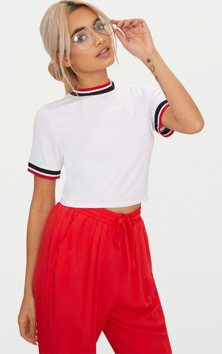 White Sport Trim Crop T Shirt  1
