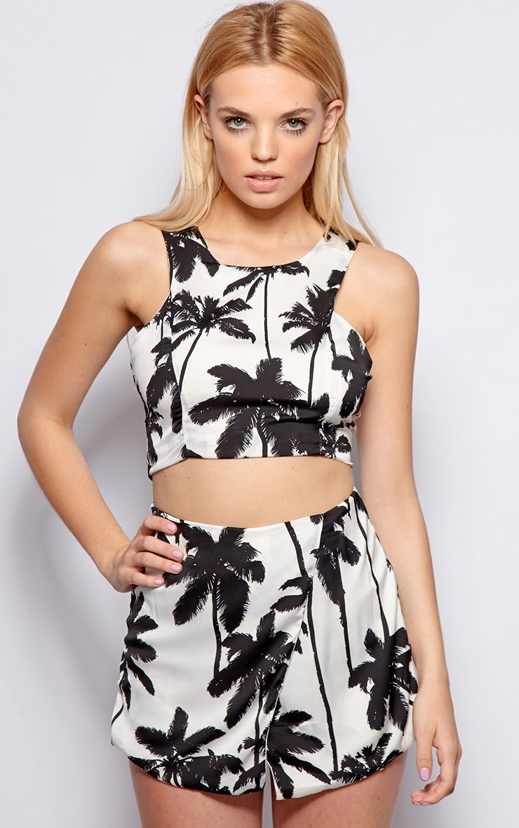 Melanie Monochrome Tropical Print Crop Top 1