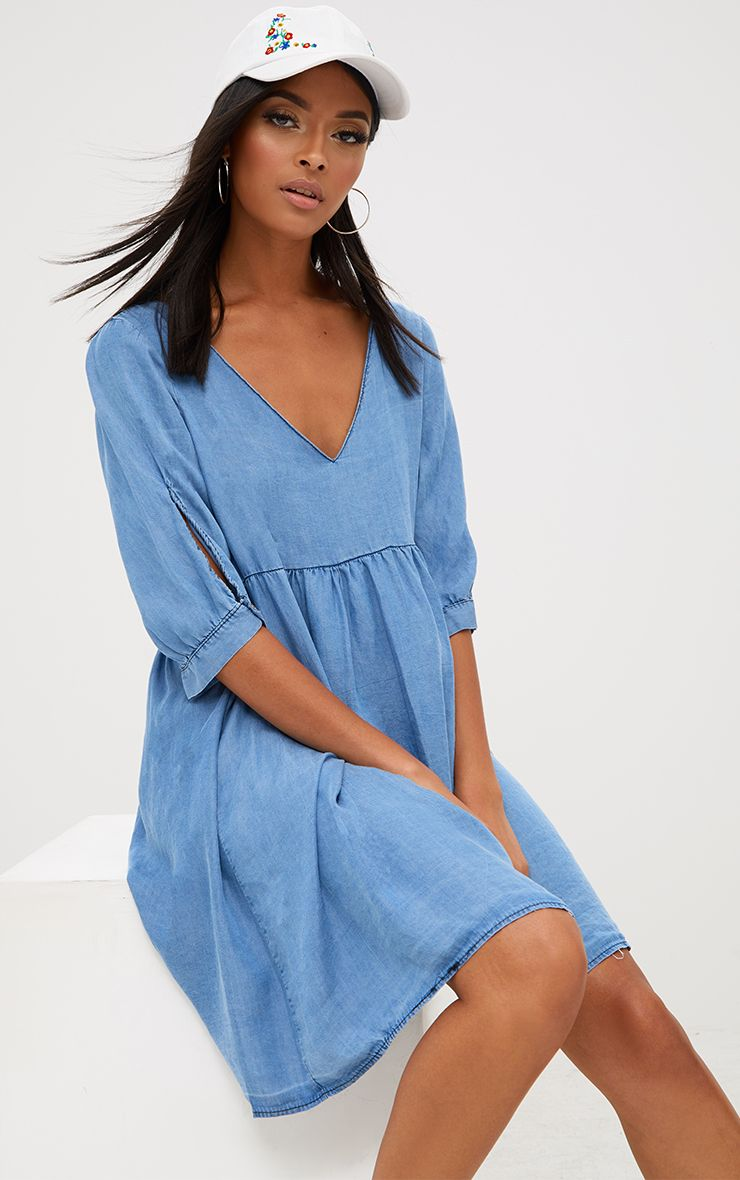 Blue Denim Smock Dress