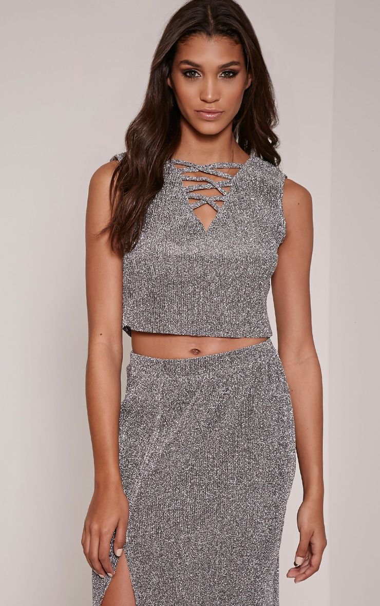 Sira Silver Glitter Lace Up Ribbed Crop Top 1
