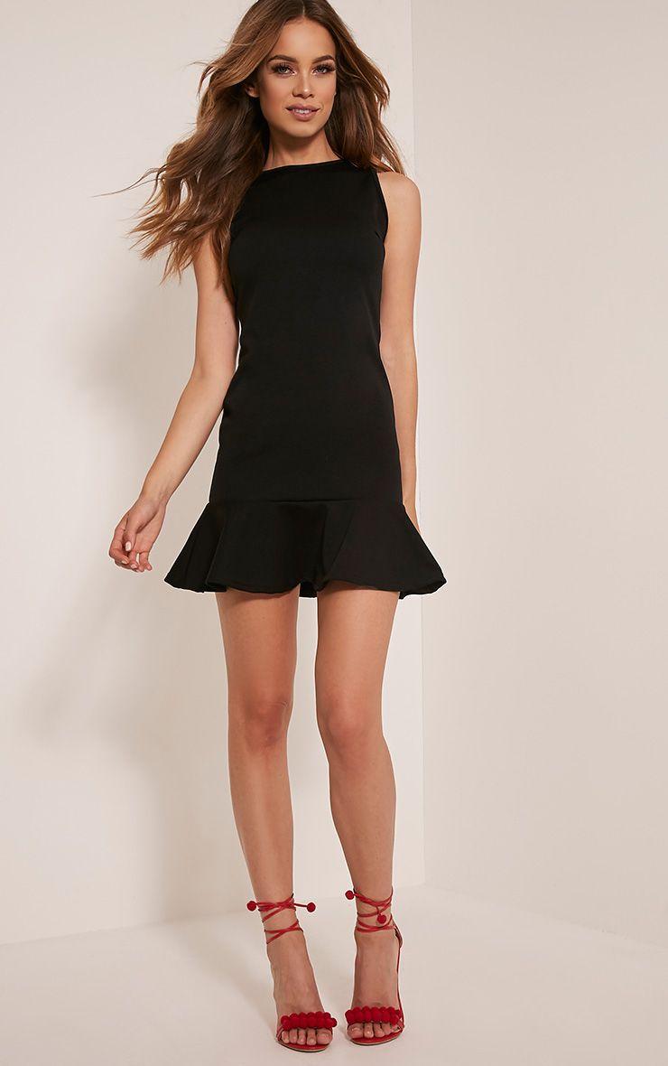 Amanie Black Drop Hem Bodycon Dress 1