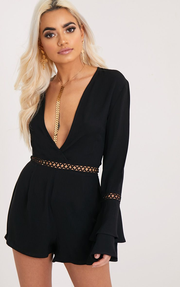 Marnie Black Frill Sleeve Playsuit