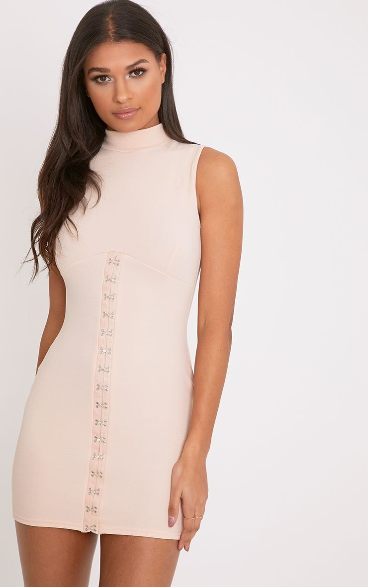 Mariana Nude Eyelet Detail Bodycon Dress