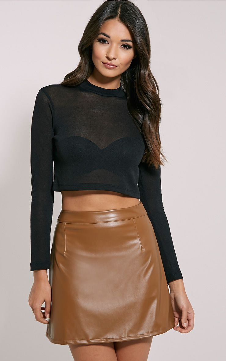 Rose Camel Faux Leather A-Line Mini Skirt 1