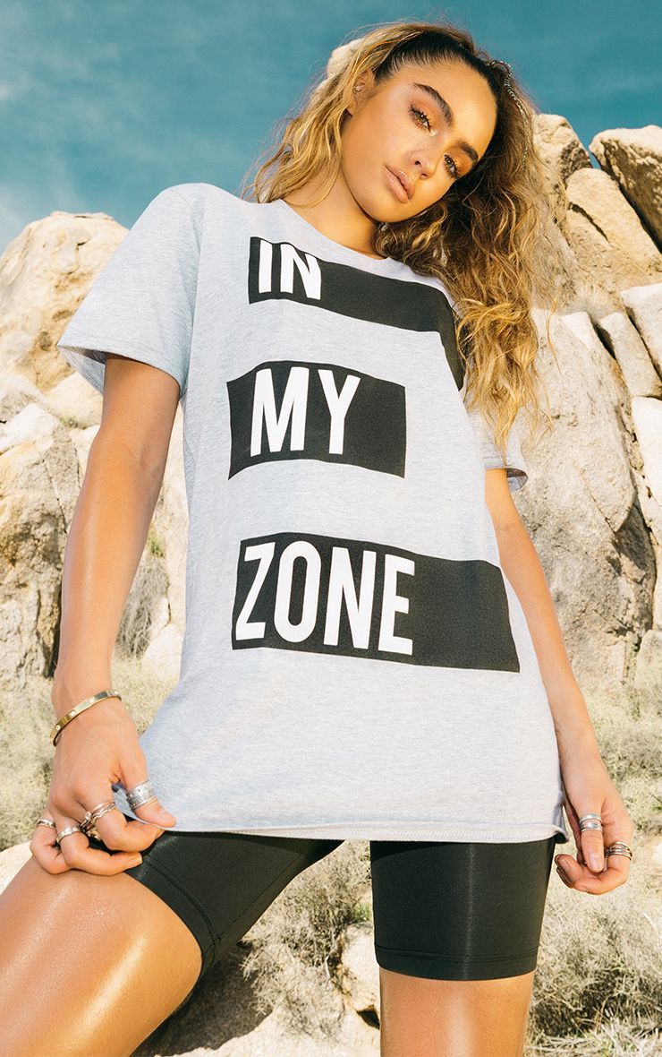 Grey Cotton In My Zone T Shirt
