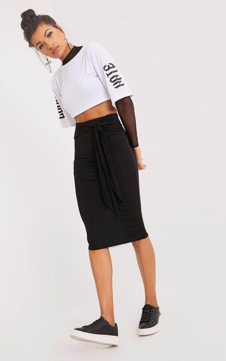 Jaina Black Tie Front Midi Skirt
