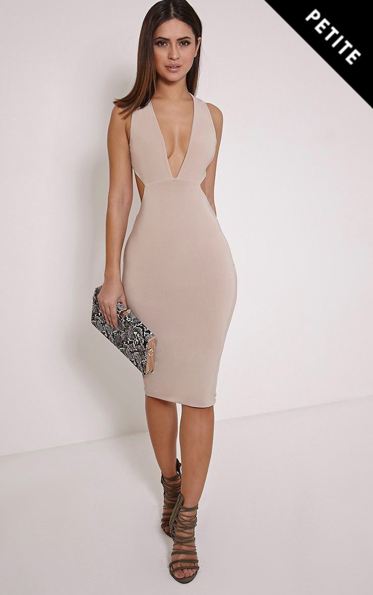 Biddy Nude Deep V Plunge Cross Back Midi Dress 1