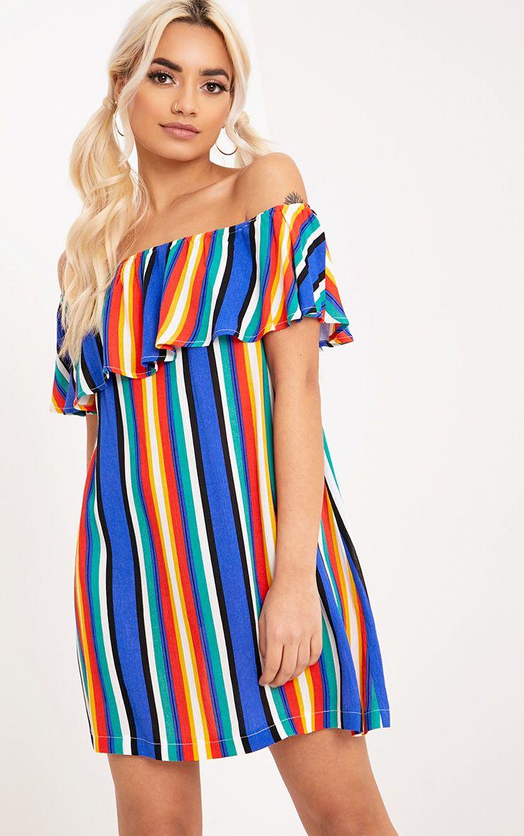 Adabelle Multi Striped Bardot Swing Dress