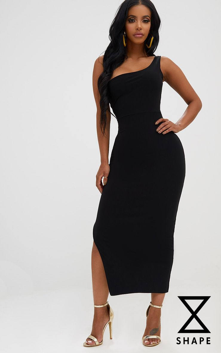 Shape Black One Shoulder Slinky Midaxi Dress
