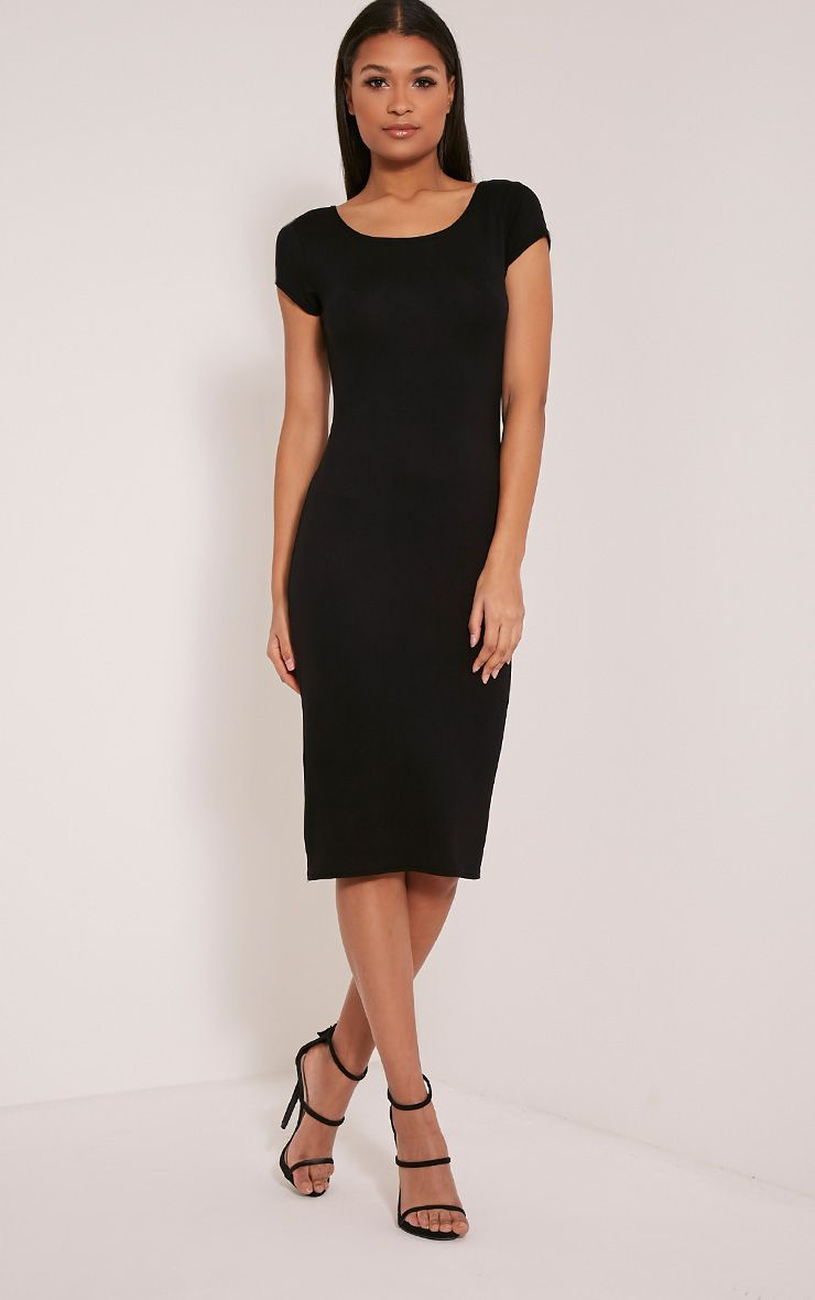 Basic Black Capped Sleeve Midi Dress 1