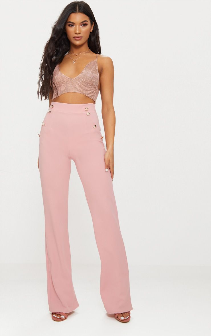 Dusty Pink Military High Waist Button Wide Leg Trousers