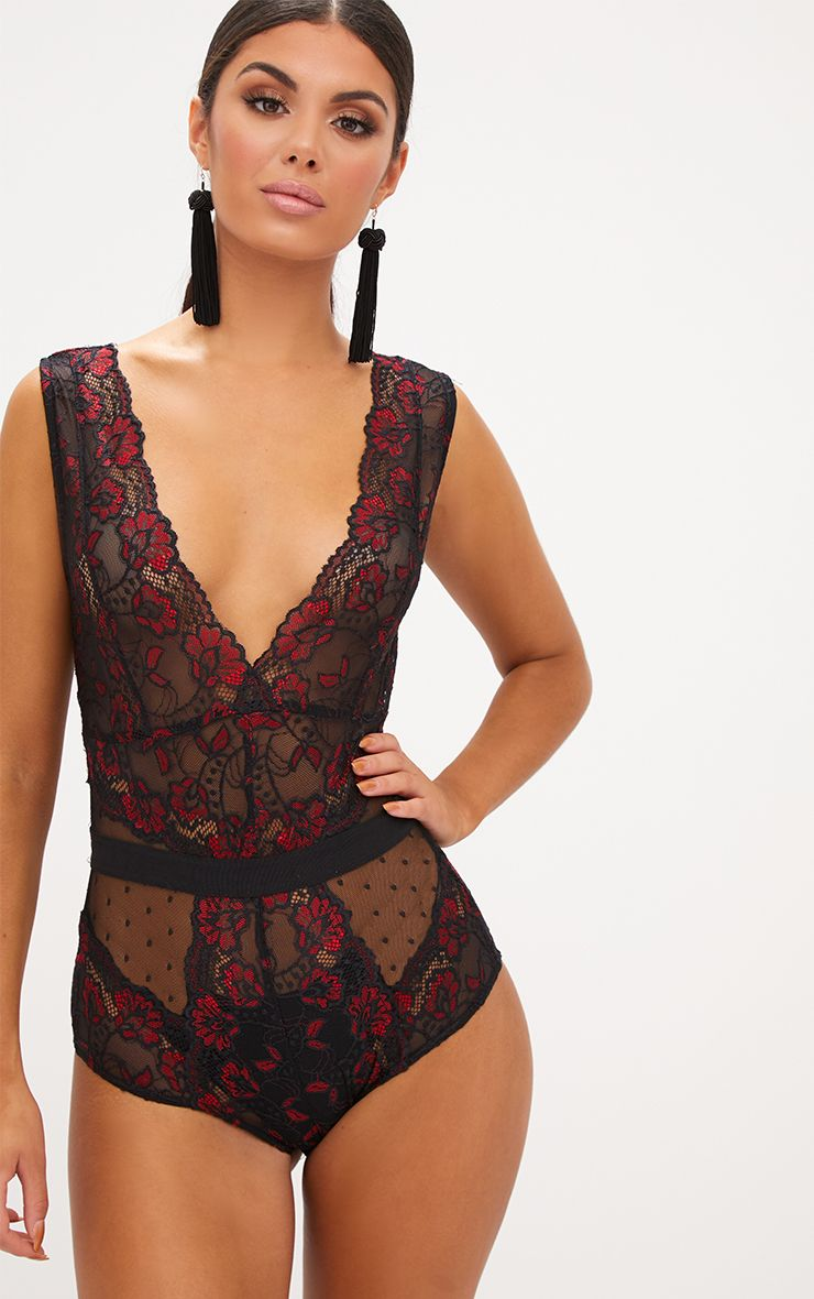 Black Floral Lace Bodysuit