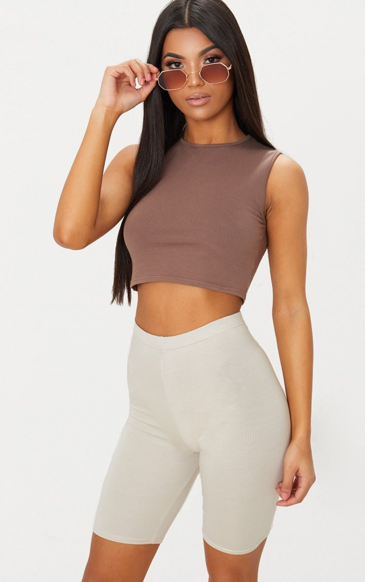 Brown Cotton Stretch Crew Neck Crop Top