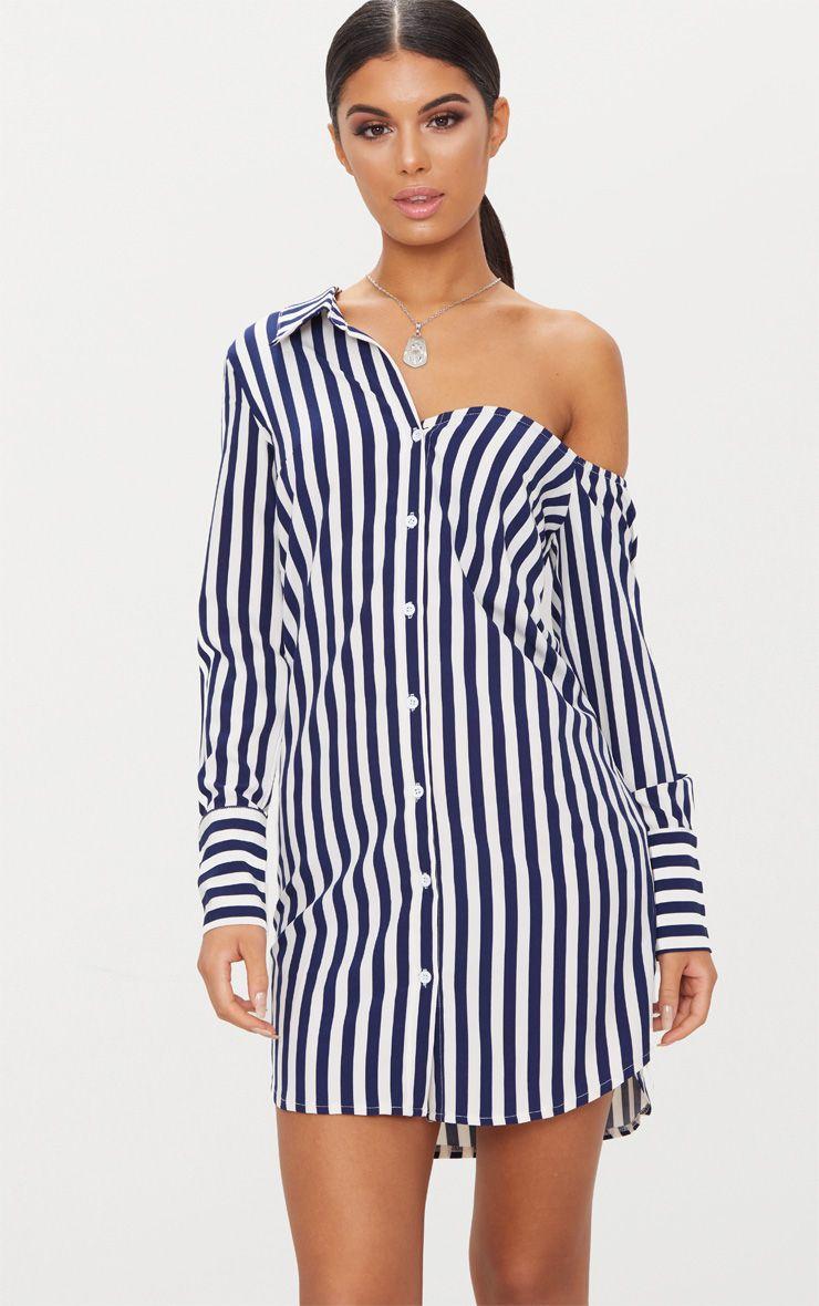 Striped Off the Shoulder Shirt Dress 1