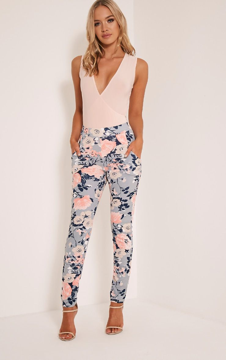 Erinna Dusty Blue Floral Cigarette Trousers 1