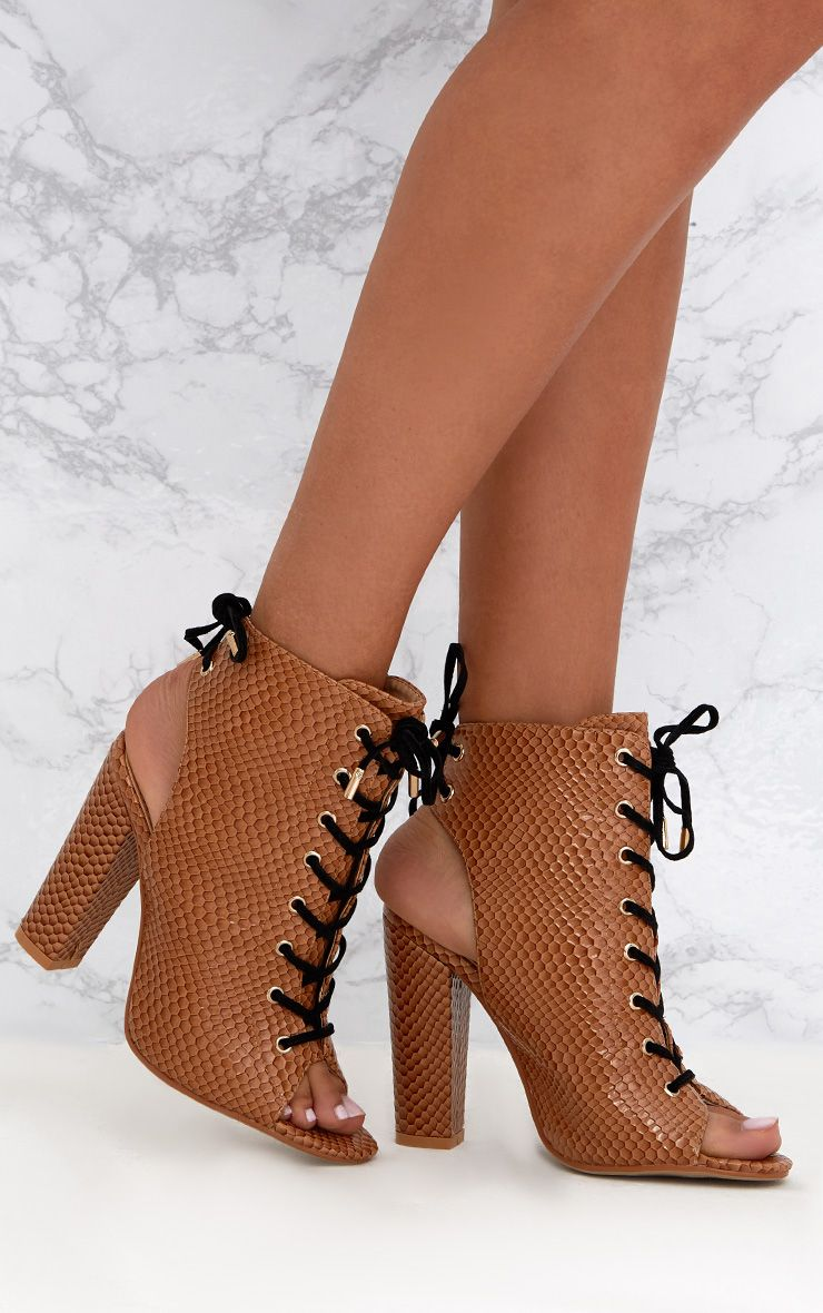 Tan Snake Print Lace Up Peep Toe Ankle Boots