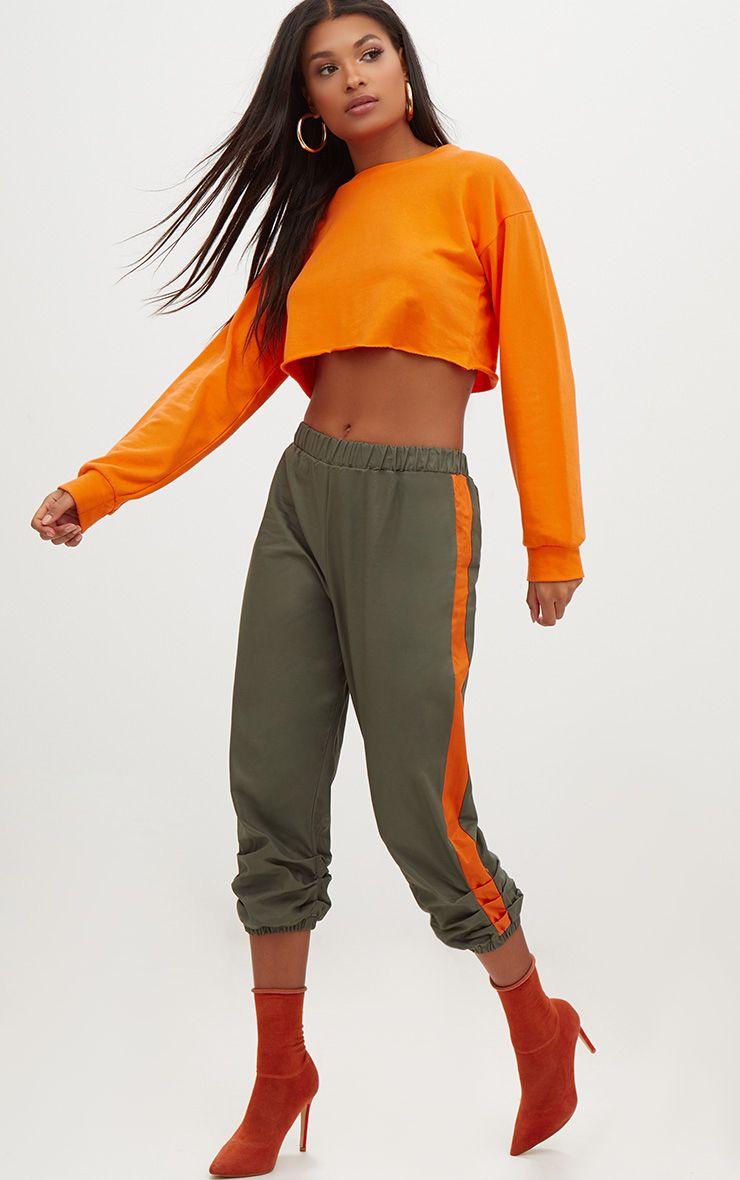 Khaki Cropped Contrast Stripe Cargo Trousers