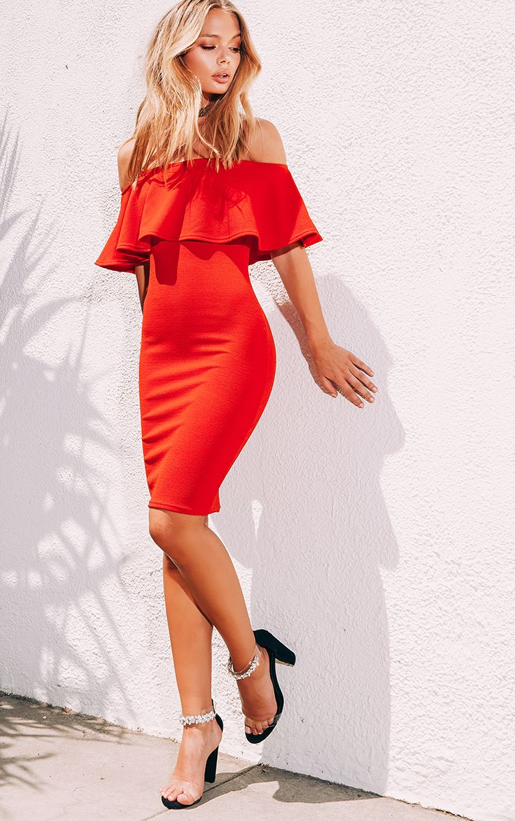 Red Frill Bardot Midi Dress