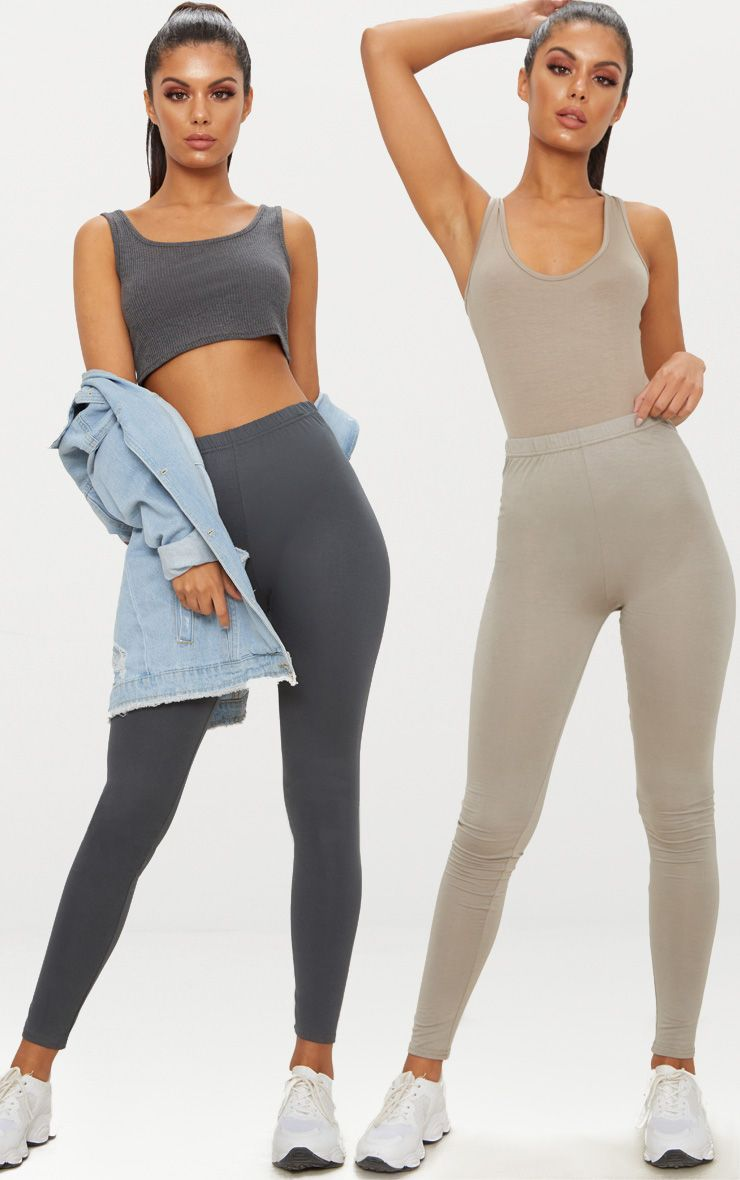 Charcoal Grey and Taupe Basic Jersey Legging 2 Pack