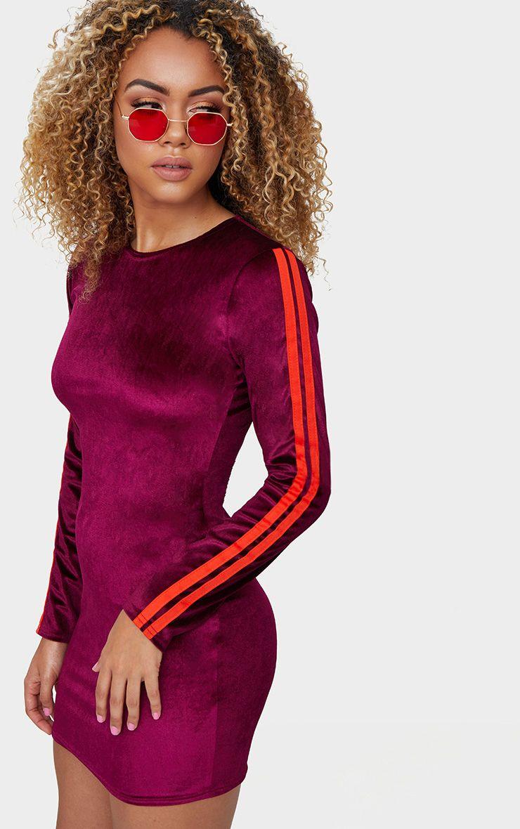 Burg Velvet Contrast Sleeve Stripe Bodycon Dress