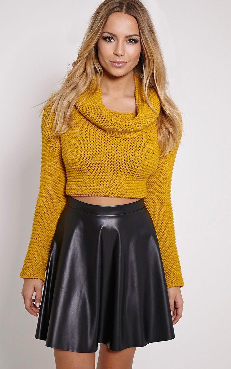 Emma Black Faux Leather Skater Skirt 1