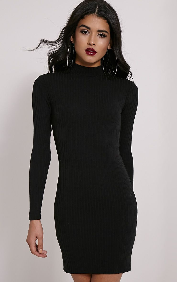 Melodie Black Ribbed Zip Back Dress 1