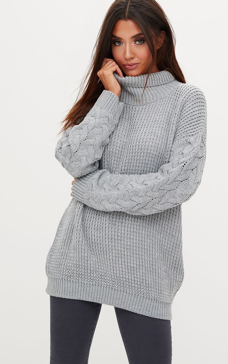 Grey Cable Knit Sleeve Jumper