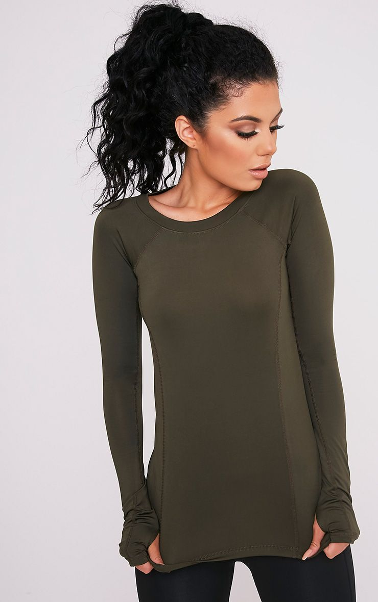 Siania Khaki Long Sleeve Gym Top