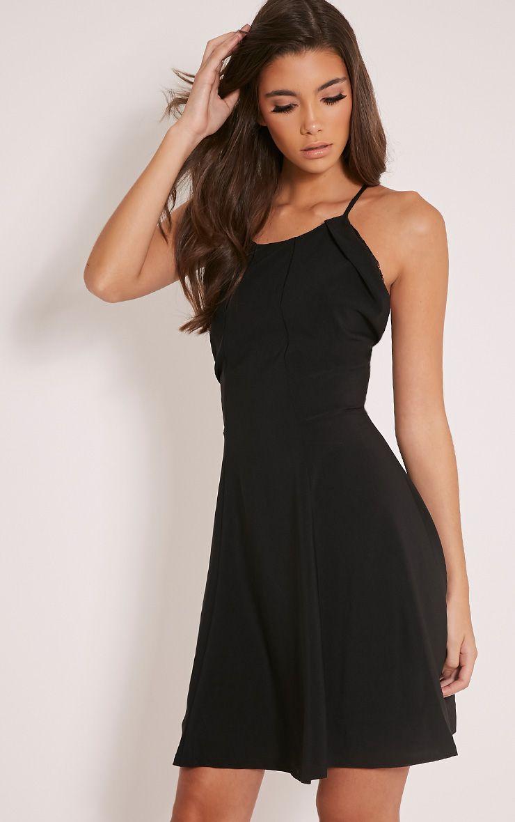 Roria Black Lace Back Strappy Skater Dress 1