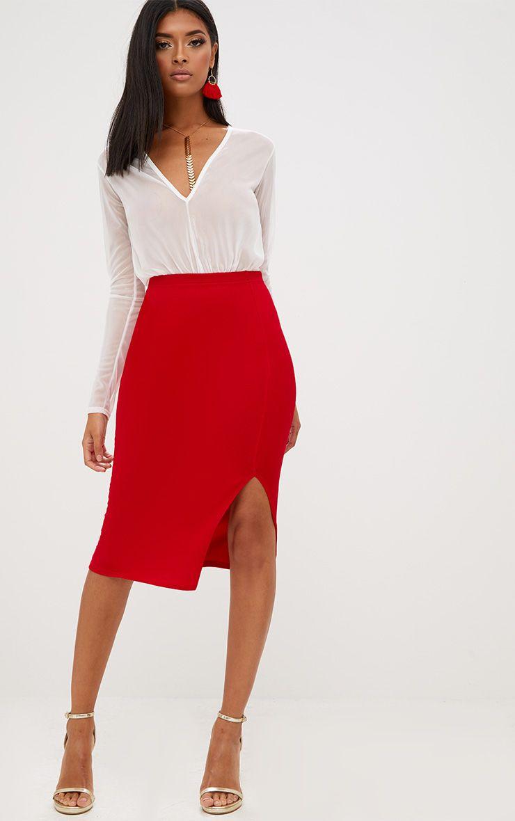 Red Basic Split Midi Skirt