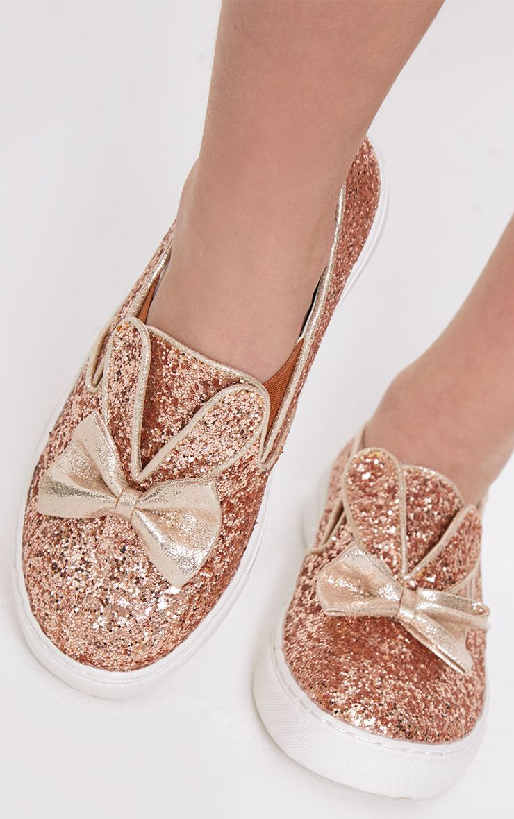 Rose Gold Glitter Bunny Ear Trainers