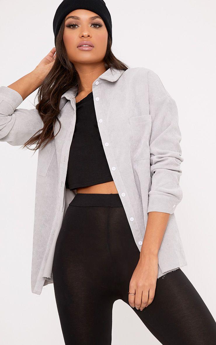 Auriela Grey Cord Distressed Hem Oversized Shirt
