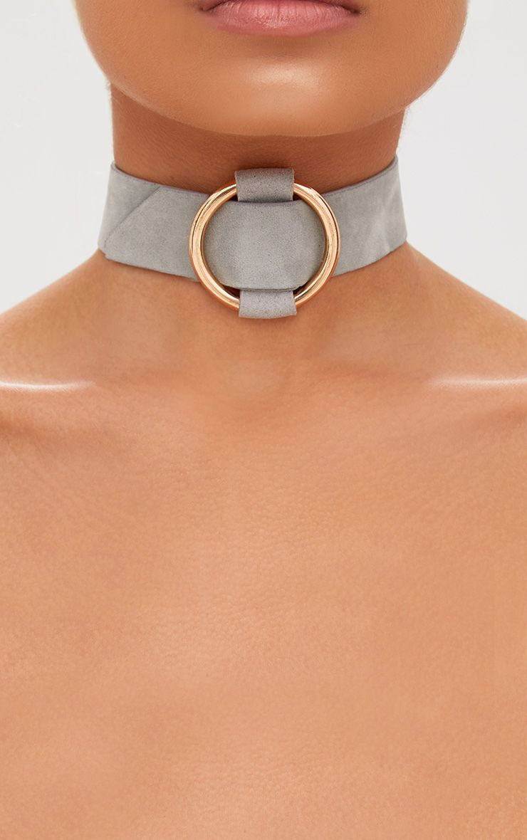 Grey Suede Hoop Thread Choker