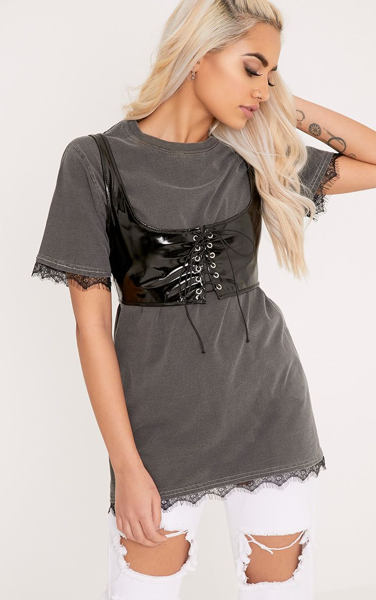 Corey Grey Laundered Lace Trim T Shirt