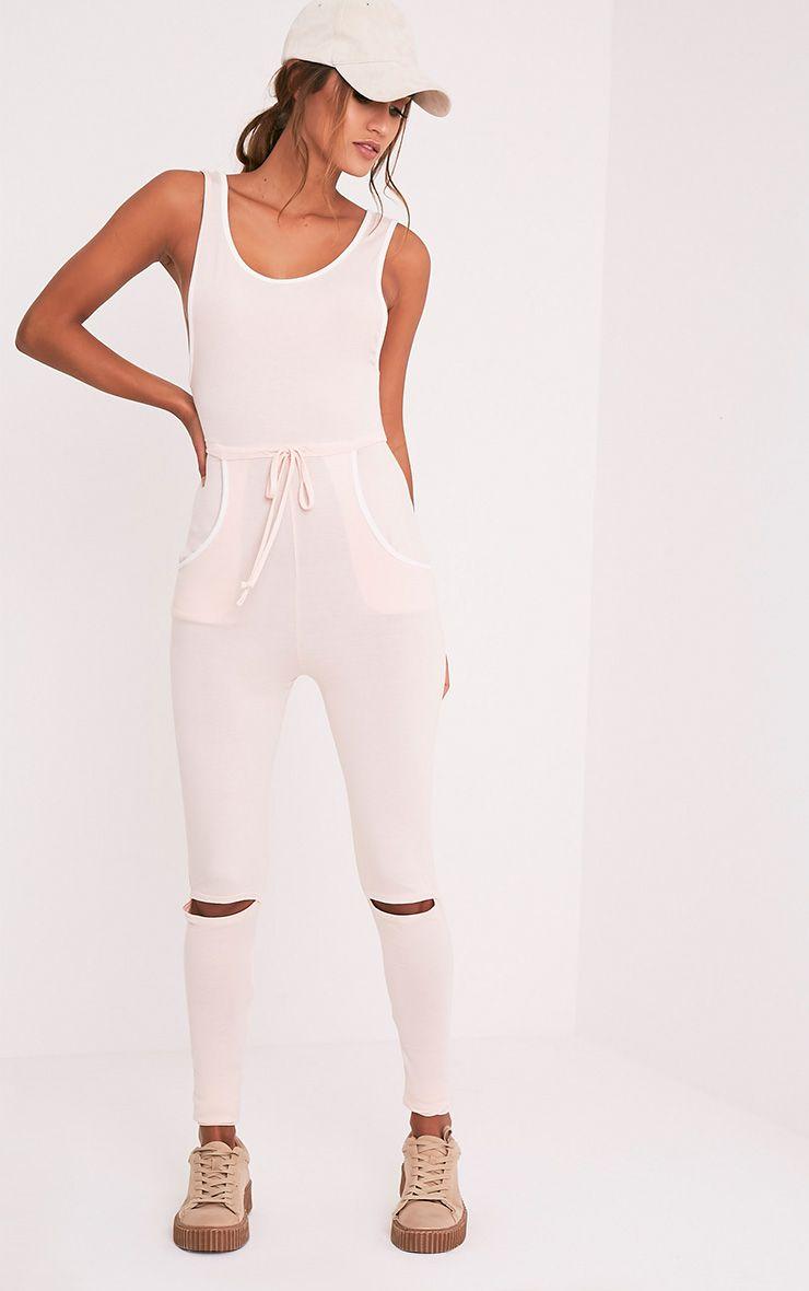 Taran Nude Slit Knee Runner Style Jumpsuit 5