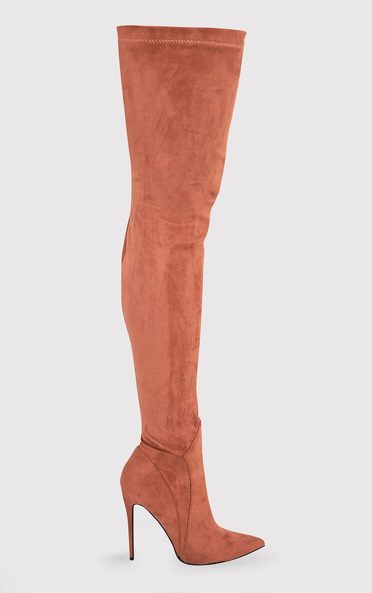 Emmie Camel Faux Suede Extreme Thigh High Heeled Boots