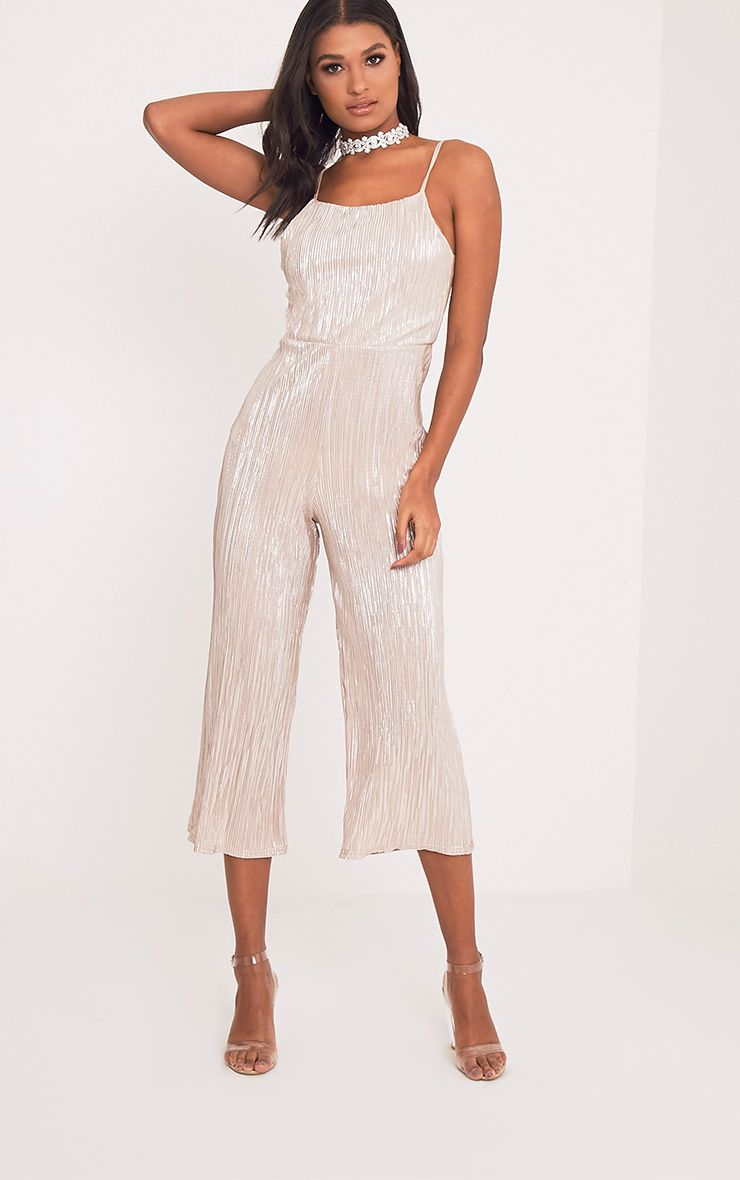 Lissy Gold Pleated Strappy Tie Back Jumpsuit