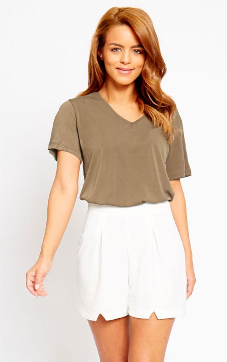 Raissa Ivory Notch Front High Waist Shorts 1