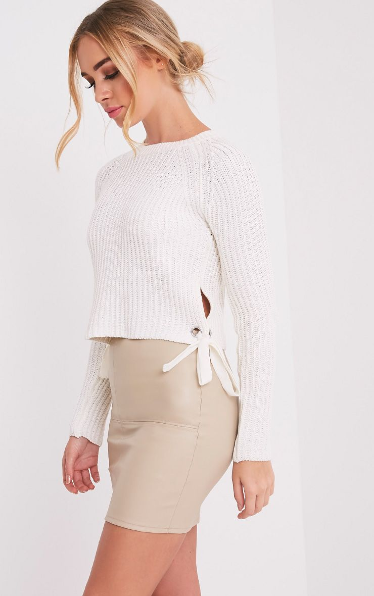Tanae White Lace Up Side Crop Jumper 1