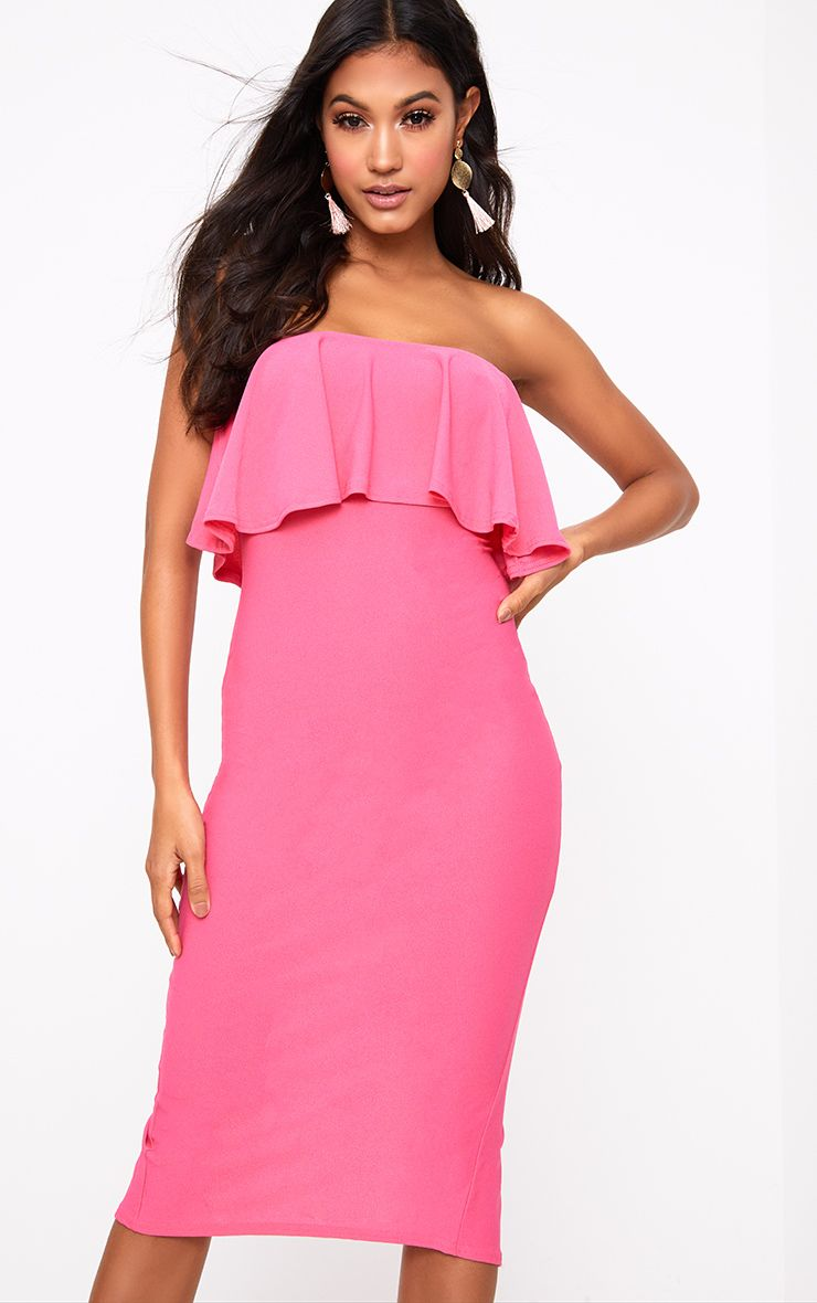 Hot Pink Frill Bandeau Midi Dress