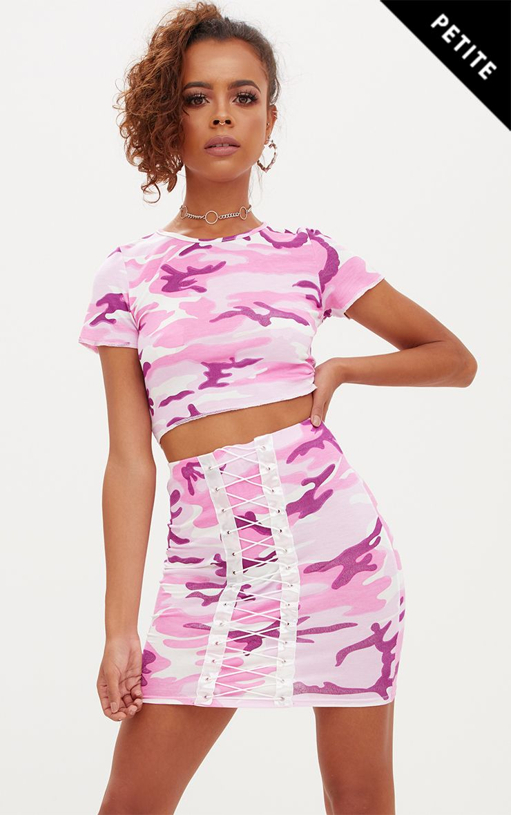 Petite Pink Camo Lace Up Skirt