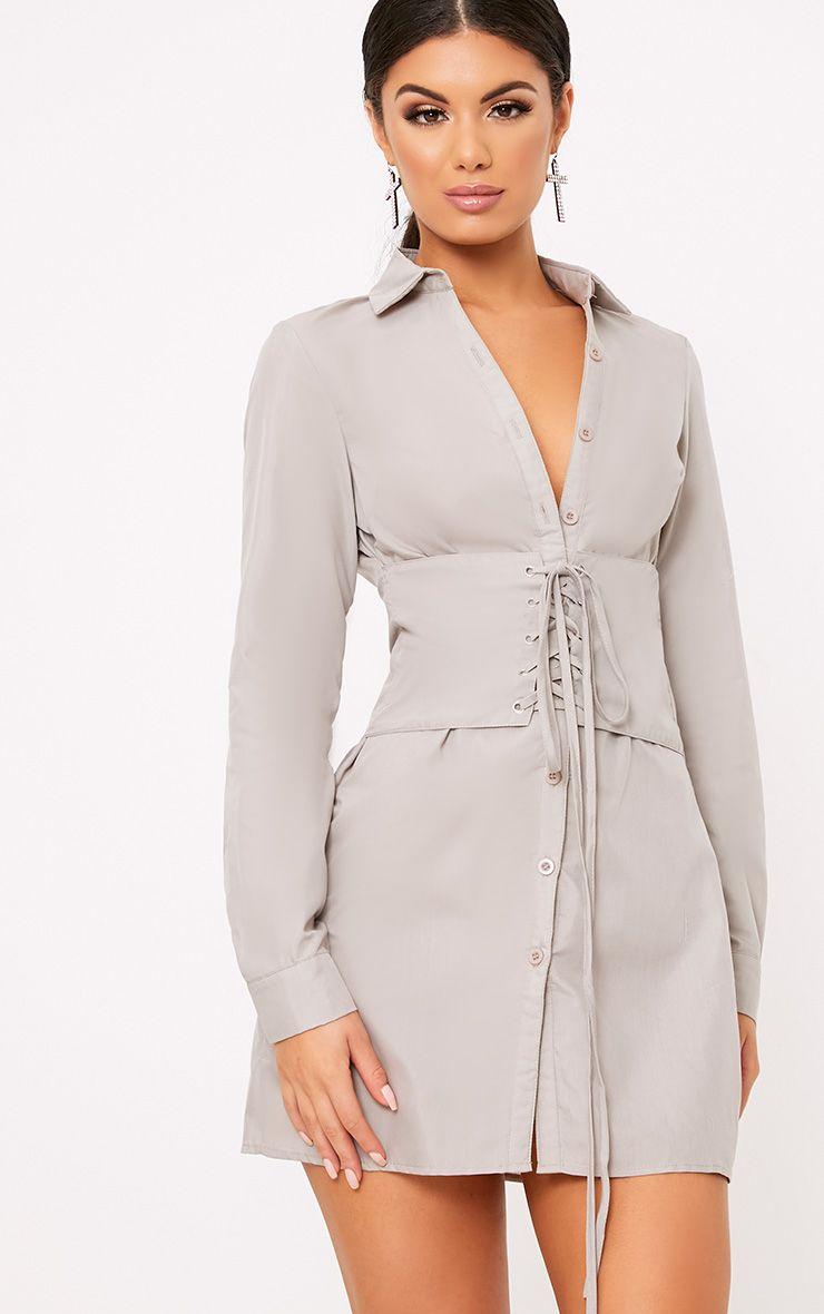 Willow Stone Corset Lace Up Open Shirt Dress  1
